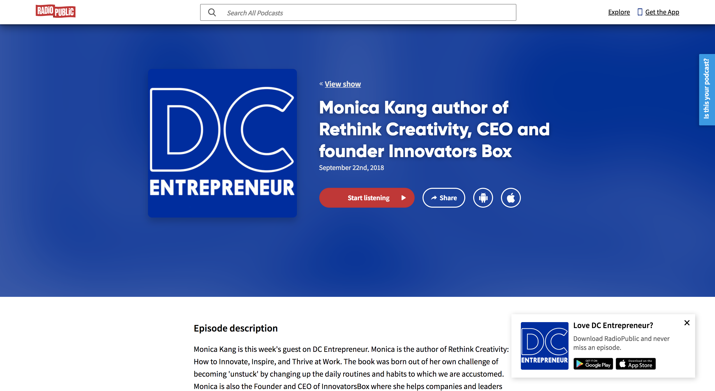 DC Entrepreneur podcast | with Monica Kang